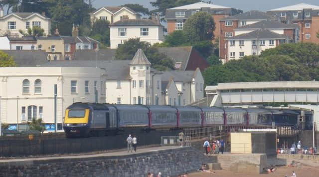 Train passing through Dawlish Railway Station